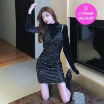 Dress Winter 2020 Apricot, black, spot on the same day, collection + attention to send small gifts S,M,L Middle-skirt Two piece set Long sleeves commute other High waist Solid color Socket One pace skirt routine Others 18-24 years old Korean version