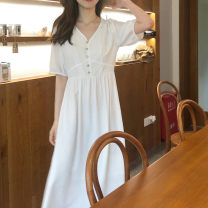 Women's large Summer of 2019 White cream orange S M L XL singleton  commute Short sleeve Solid color Korean version V-neck routine A10055 Qingle Valley 18-24 years old longuette Polyester 100% Pure e-commerce (online only)