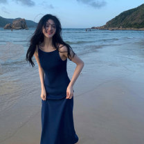 Women's large Summer 2021 navy blue S M L XL Dress singleton  commute Conjoined Solid color Korean version Qingle Valley 18-24 years old longuette Other 100%