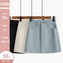 skirt Spring 2021 S,M,L Black, haze blue, light apricot Short skirt commute High waist A-line skirt Solid color Type A 18-24 years old 51% (inclusive) - 70% (inclusive) Denim Other / other other pocket Korean version