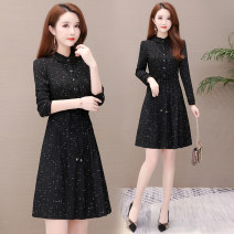 Dress Autumn of 2019 black M L XL 2XL 3XL Mid length dress singleton  Long sleeves commute Crew neck middle-waisted lattice Socket Big swing routine Others 35-39 years old Joulify Korean version Lace up button print KSF19A529-WMT More than 95% polyester fiber Other polyester 95% 5%