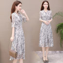 Dress Spring of 2019 Grey Khaki M L XL 2XL 3XL 4XL Mid length dress singleton  elbow sleeve commute V-neck middle-waisted Abstract pattern Socket Big swing pagoda sleeve Others 35-39 years old Joulify Korean version Lace up printing DL-A208 More than 95% Chiffon polyester fiber Polyester 100%