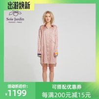 Nightdress soie jardin Lover shirt skirt S,M,L luxurious Long sleeves Leisure home Middle-skirt spring heart-shaped youth Shirt collar silk printing More than 95% silk SP92Q192-2 200g and below