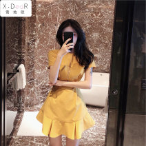 Wedding dress Summer 2020 Yellow zipper lotus leaf Skirt Blue zipper lotus leaf skirt black zipper lotus leaf skirt S M L XL Sweet High waist 18-25 years old Snow Europe Pure e-commerce (online only) Other 100% 96% and above cotton