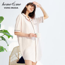 Nightdress Vero Moda A28 makes Pink 160/80A/S 165/84A/M 170/88A/L Cartoon Short sleeve Leisure home Middle-skirt summer Solid color youth Shirt collar Button decoration Summer 2020 Cotton 91.2% polyurethane elastic fiber (spandex) 8.8% Same model in shopping mall (sold online and offline)