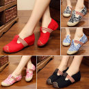 Low top shoes 34 35 36 37 38 39 40 41 Xinyuan embroidery workshop Pink Floral Blue Floral black and White Floral Red Black Round head Internal elevation cloth Midmouth Low heel (1-3cm) cloth Autumn 2016 Trochanter Mori TPR (tendon) Cloth shoes