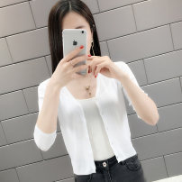 Wool knitwear Spring of 2019 S M L XL 2XL White Blue Black Beige Pink three quarter sleeve singleton  Cardigan other More than 95% have cash less than that is registered in the accounts Thin money commute Self cultivation V-neck routine Solid color Single breasted Korean version YSL10482TX Yunsilu
