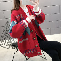 Wool knitwear Spring 2020 S M L XL 2XL White, red, blue Long sleeves singleton  Cardigan other More than 95% Medium length thick commute easy V-neck routine Color matching Single breasted Korean version SL15587JD Yunsilu Stitched pocket button Other 100% Pure e-commerce (online only)