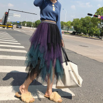 skirt Autumn of 2018 Average size Mid length dress commute High waist Irregular Decor Type A 31% (inclusive) - 50% (inclusive) Lace other Splicing Korean version