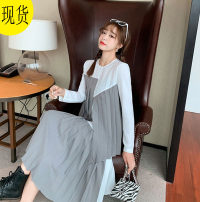 Dress Spring 2021 Gray and white color matching XS,S,M,L longuette Long sleeves Crew neck middle-waisted zipper Pleated skirt 51% (inclusive) - 70% (inclusive) other