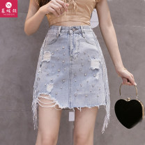 skirt Summer 2021 S ml XL 2XL Collection Plus purchase gift wathet Short skirt commute High waist A-line skirt Solid color Type A 30-34 years old MDY-Q2 Denim The charm of butterfly Tassel rivet hole chain nail bead sequin button mesh stitching lace Korean version Pure e-commerce (online only)