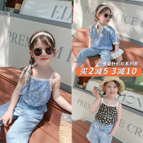 T-shirt Short Sleeve Black, suspender black, short sleeve blue, suspender blue Pudding Haru female summer Crew neck Korean version nothing other Solid color Other 100% 21X038 other 12 months, 2 years old, 3 years old, 4 years old, 5 years old, 6 years old, 7 years old, 8 years old