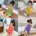 suit Pudding Haru female summer Korean version Sleeveless + pants 2 pieces Thin money There are models in the real shooting Socket nothing other other children Expression of love other Other 100% 2 years old, 3 years old, 4 years old, 5 years old, 6 years old, 7 years old