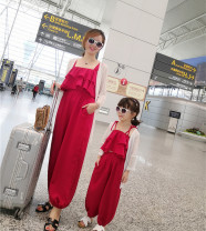 Parent child fashion Red, same sunscreen Women's dress female Other / other summer Korean version Thin money Solid color suit L,M,S 18 months, 2 years old, 3 years old, 4 years old, 5 years old, 6 years old, 7 years old, 8 years old, 9 years old, 10 years old, 11 years old