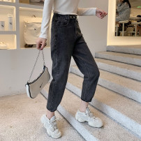 Jeans Autumn 2020 Grey, off white, denim blue XS,S,M,L trousers Natural waist Straight pants routine 25-29 years old Zipper, button, multiple pockets other YG203427026 Small grains 81% (inclusive) - 90% (inclusive)