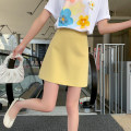 skirt Summer 2021 XS,S,M,L yellow Short skirt commute Natural waist Solid color Type A 25-29 years old YG212424013 Small grains Button Korean version
