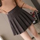 skirt Autumn 2020 S,XL,2XL,L,M longuette Sweet Pleated skirt Decor 18-24 years old Wool silk Splicing