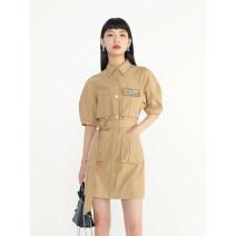Dress Summer 2021 khaki S, M Mid length dress singleton  Short sleeve commute square neck High waist Solid color Single breasted puff sleeve Type H VEGA CHANG