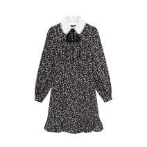 Dress Summer 2021 Black flowers S,M,L Mid length dress singleton  Long sleeves commute Doll Collar Loose waist Decor Socket Ruffle Skirt Type H