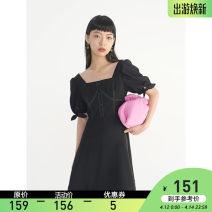 Dress Summer 2021 black S,M,L Mid length dress Short sleeve commute square neck High waist Solid color Socket A-line skirt puff sleeve Type A VEGA CHANG