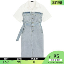 Dress Summer 2021 Light blue S, M Mid length dress Fake two pieces Short sleeve commute square neck High waist Socket One pace skirt routine Type H VEGA CHANG Pockets, panels, buttons