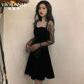 Dress Summer of 2019 black S M L XL XXL Short skirt singleton  Long sleeves commute square neck middle-waisted Solid color zipper A-line skirt Breast wrapping 18-24 years old Type A Viyxunnar / weixuanna Korean version Zipper lace 8307-1 More than 95% other polyester fiber