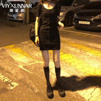 Dress Autumn of 2019 black S M L XL XXL Short skirt singleton  Long sleeves commute Crew neck middle-waisted Solid color Single breasted Pencil skirt routine Others 18-24 years old Type H Viyxunnar / weixuanna Korean version 8405-1 91% (inclusive) - 95% (inclusive) brocade cotton