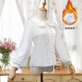shirt White / thin, white / Plush S,XL,L,M Autumn 2020 polyester fiber 71% (inclusive) - 80% (inclusive) Long sleeves Sweet Regular Doll Collar Single row multi button puff sleeve Solid color 18-24 years old Self cultivation Splicing Chiffon