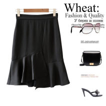 skirt Summer 2021 L,M,S Middle-skirt street Natural waist Splicing style Solid color More than 95% other Ruffles, asymmetric Europe and America