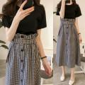 Fashion suit Summer 2021 M,L,XL,XXL,XXXL,4XL White dress + black skirt, black dress + plaid skirt, white sling 009