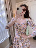 Dress Spring 2021 XS,S,M,L Mid length dress singleton  Long sleeves Sweet V-neck High waist Broken flowers Socket A-line skirt Lotus leaf sleeve Others 25-29 years old Type A printing 91% (inclusive) - 95% (inclusive) knitting polyester fiber