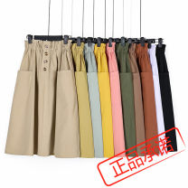 skirt Summer 2020 Average size Army green, apricot, light yellow, white, yellow, black, peach powder, brick red, fruit green, coffee color Mid length dress commute High waist High waist skirt Type A 18-24 years old 51% (inclusive) - 70% (inclusive) polyester fiber Korean version