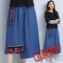 skirt Summer 2021 L,XL,2XL,3XL,4XL,5XL blue Mid length dress commute Natural waist A-line skirt Solid color Type A 8210# 81% (inclusive) - 90% (inclusive) Denim Other / other cotton Sticking cloth ethnic style