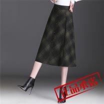 skirt Winter 2020 M,L,XL,2XL,3XL Check pattern Mid length dress commute High waist A-line skirt lattice Type A 30-34 years old 9320 real shot polyester fiber pocket Korean version