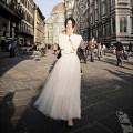 skirt Summer of 2019 Medium length skirt Fluffy skirt street Solid color Europe and America High waist Gauze Length 70cm white