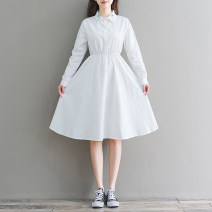 Dress Autumn of 2019 white M,L,XL,2XL Mid length dress singleton  Long sleeves commute Polo collar middle-waisted Solid color Socket routine 18-24 years old Other / other literature Embroidery 81% (inclusive) - 90% (inclusive) cotton
