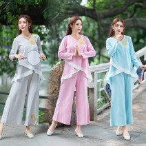 Fashion suit Autumn of 2019 M,L,XL,XXL Light grey, light blue, pink Other / other 81% (inclusive) - 90% (inclusive) hemp