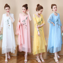 Dress Summer of 2019 Blue, yellow, white M (recommended 90-115 kg), l (recommended 115-125 kg), XL (recommended 125-135 kg), XXL (recommended 135-150 kg) longuette Two piece set commute Others Other / other ethnic style 91% (inclusive) - 95% (inclusive)