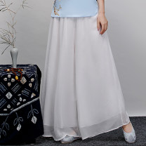 Casual pants white S,M,L,XL,2XL,3XL Autumn of 2019 trousers Wide leg pants low-waisted Versatile routine 25-29 years old 91% (inclusive) - 95% (inclusive) Other / other