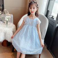 Dress Summer 2021 Sky blue, pink 110cm,120cm,130cm,140cm,150cm,160cm Mid length dress singleton  Sleeveless commute Crew neck Loose waist other zipper Princess Dress other Others Under 17 Type H Other / other 91% (inclusive) - 95% (inclusive) other cotton