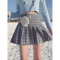 skirt Summer 2021 XS,S,M,L Blue grey Short skirt street High waist Pleated skirt lattice Type A 18-24 years old Wangnansheng Europe and America