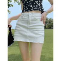 skirt Summer 2021 XS,S,M,L,XL White skirt Short skirt Retro High waist A-line skirt Solid color Type A Wangnansheng