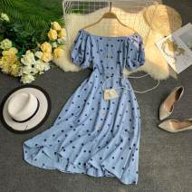 Dress Summer 2020 Yellow, blue, apricot, white M, L Short skirt singleton  Short sleeve commute One word collar High waist Dot Socket A-line skirt puff sleeve Others 18-24 years old Type A Korean version fold 31% (inclusive) - 50% (inclusive)