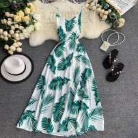 Dress Summer 2020 Green leaves on a white background S,M,L longuette singleton  Sleeveless commute V-neck High waist Decor Socket A-line skirt camisole 18-24 years old Type A Korean version backless 31% (inclusive) - 50% (inclusive)