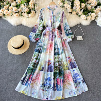 Dress Spring 2021 Decor M,L,XL,2XL longuette singleton  Long sleeves commute Crew neck High waist other Socket A-line skirt puff sleeve Others 18-24 years old Type A Korean version 31% (inclusive) - 50% (inclusive) other other