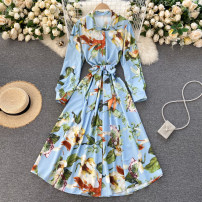 Dress Spring 2021 blue Average size Middle-skirt singleton  Long sleeves commute Polo collar High waist Decor Socket A-line skirt routine Others 18-24 years old Type A Korean version 31% (inclusive) - 50% (inclusive) other other