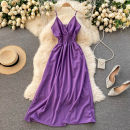Dress Spring 2021 black , green , violet , rose red , Army green Average size Middle-skirt singleton  commute V-neck High waist Solid color Socket Big swing camisole 18-24 years old Type A Korean version 31% (inclusive) - 50% (inclusive) other other