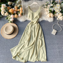 Dress Spring 2020 White, red, yellow, light green, black S,M,L Middle-skirt singleton  commute V-neck High waist Solid color Socket Big swing camisole 18-24 years old Type A Korean version backless 31% (inclusive) - 50% (inclusive) other other