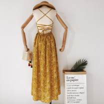 Dress Summer 2020 yellow S,M,L,XL Middle-skirt singleton  commute V-neck High waist Solid color Socket camisole 18-24 years old Type A Korean version backless 31% (inclusive) - 50% (inclusive)