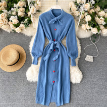 Dress Autumn 2020 Black, apricot, blue Average size Middle-skirt singleton  Long sleeves commute stand collar High waist Solid color Socket A-line skirt puff sleeve Others 18-24 years old Type A Korean version 31% (inclusive) - 50% (inclusive) other other